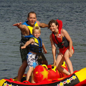Family on a Tube on Emma Lake